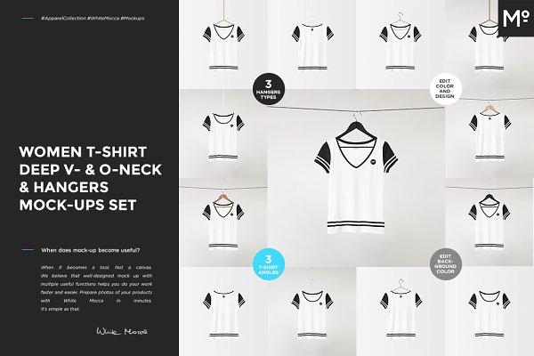V-& O-Neck Tshirt & Hangers Mock-up…