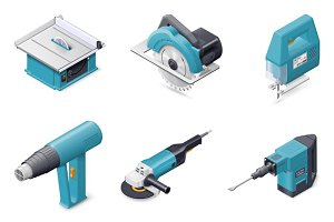 Electric tools icon set