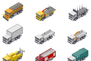 Different trucks icons set