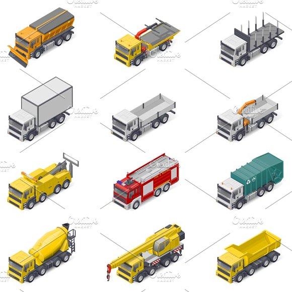 Different Trucks Icons Set