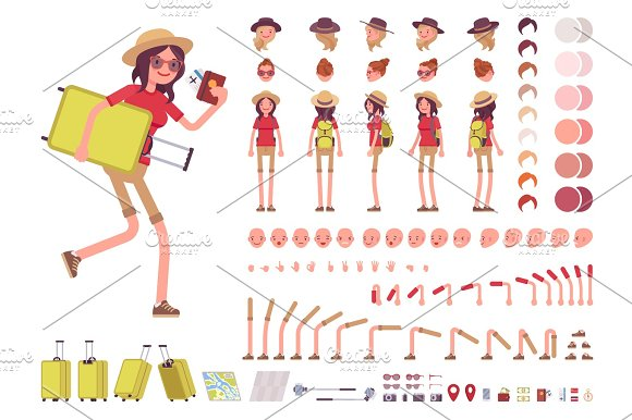 Tourist Woman With Luggage Wearing Travel Outfit Character Creation Set