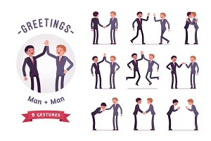 Business partners handshaking character set, various poses and emotions