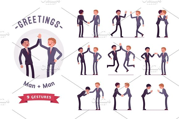 Business Partners Handshaking Character Set Various Poses And Emotions