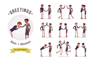 Businessman and businesswoman greeting character set, various poses and emotions