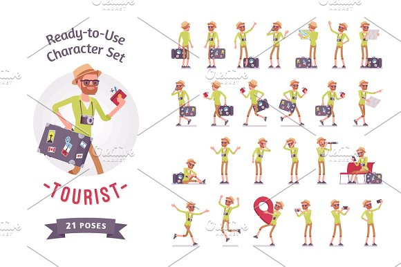 Tourist Man With Luggage Character Set Various Poses And Emotions