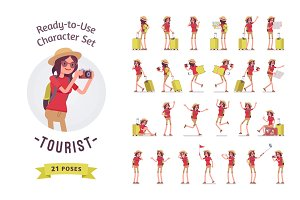 Tourist woman with luggage character set, various poses and emotions