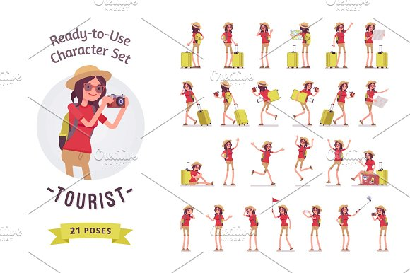 Tourist Woman With Luggage Character Set Various Poses And Emotions