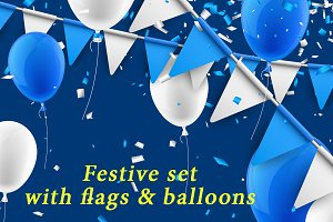 Blue festive set with balloons