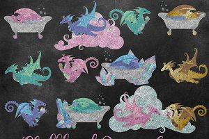 Chalkboard Dragon Sweets Clipart