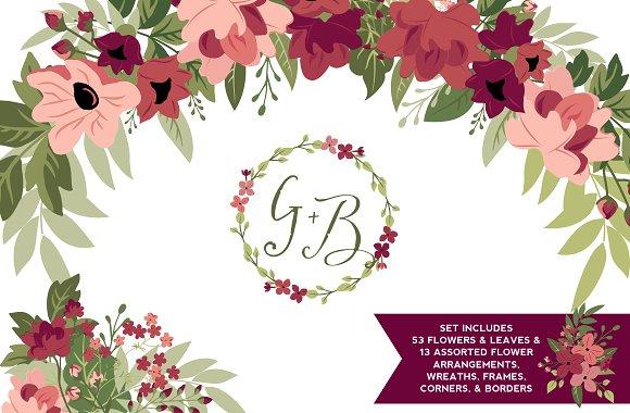 Blush & Burgundy Flowers & -Graphicriver中文最全的素材分享平台