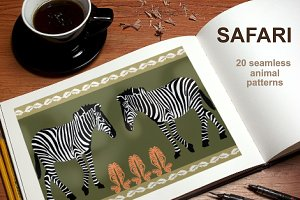 Safari Set. Seamless Animal Prints