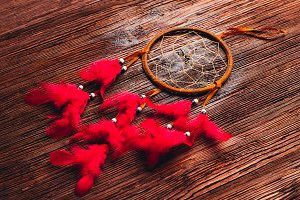 Dreamcatcher on the dark wooden background