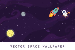Space wallpaper. Flat vector+bonus.