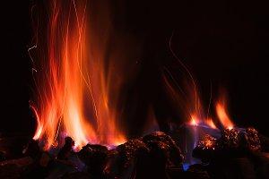 Camp fire in the dark night background