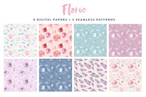 Florie Watercolor papers, patterns