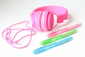 Earphone & Pens - Styled Photo