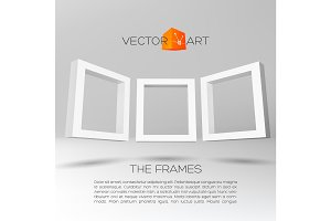 Three white rectangular 3D frames