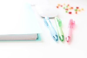 Pens, Candy, Notebook - Styled Photo