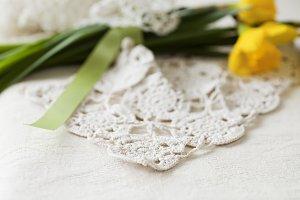 Crochet Doily & Spring Flowers