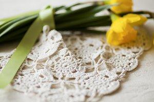 Daffodils & Crocheted Doily