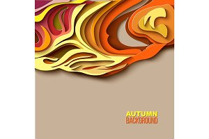 Autumn tree. Abstract paper cut design