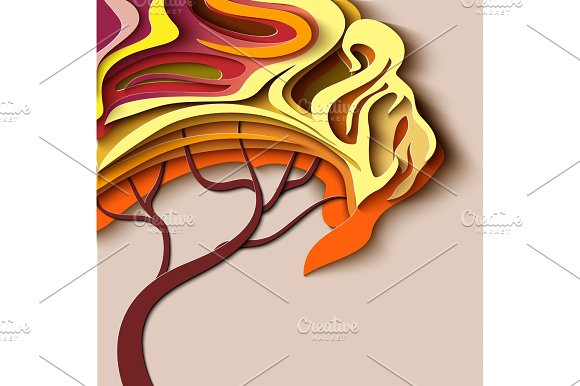 Autumn Tree Abstract Paper Cut Design