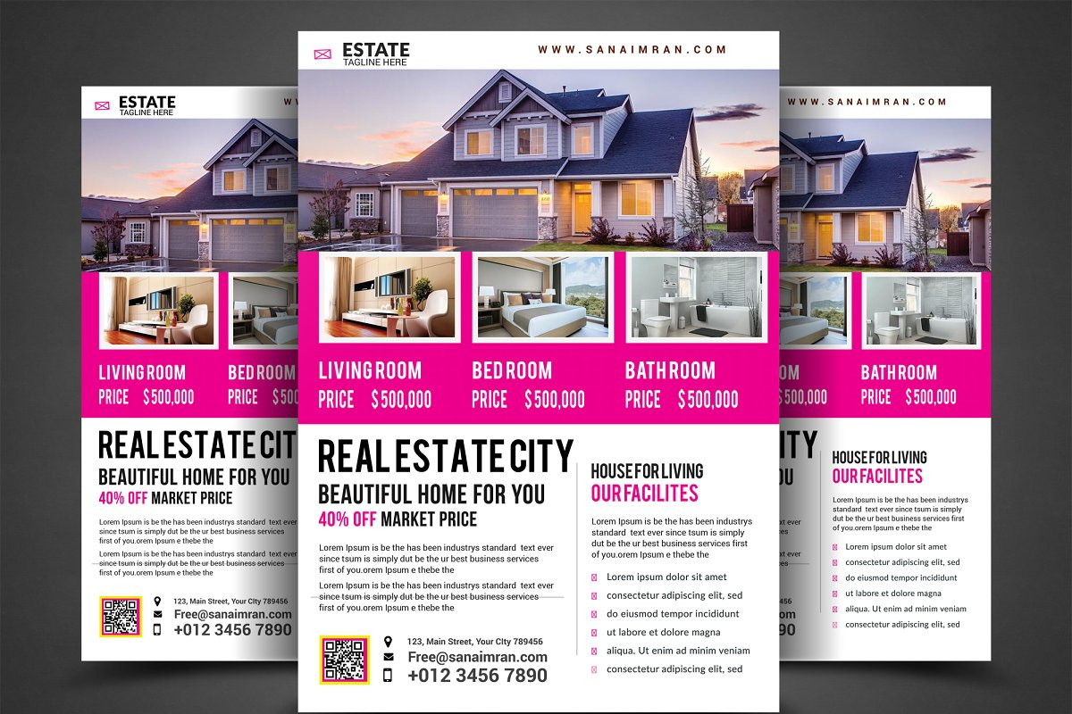 Clean Real Estate Flyer Template Flyer Templates