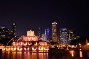 Chicago Night Skyline.