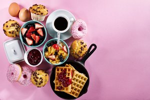 Tasty healthy breakfast flat lay