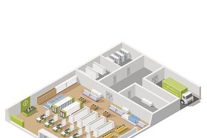 Grocery market with storage area