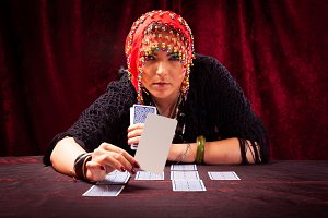 Crazy Fortune Teller With Tarot Cards