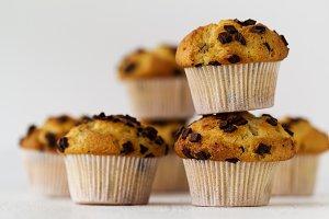 Tasty fresh pile chocolate muffins