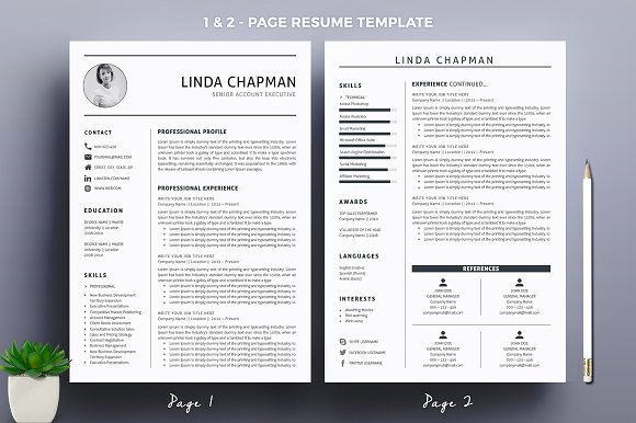 Professional Resumecv Template Resume Templates Creative Market