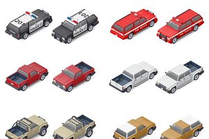 SUV and pickup trucks icon set