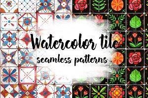 Watercolor tile seamless patterns.