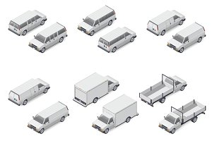 Minivan and mini trucks icon set