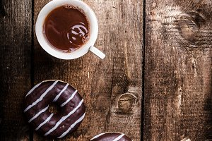 Morning - Coffee and homemade donuts filled with chocolate