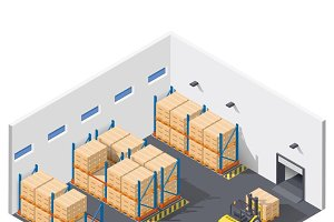 Work inside warehouse icon set