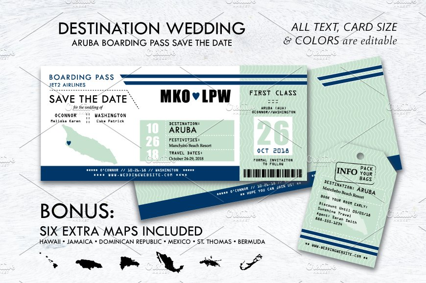 boarding pass sleeve template - boarding pass wedding save the date invitation templates