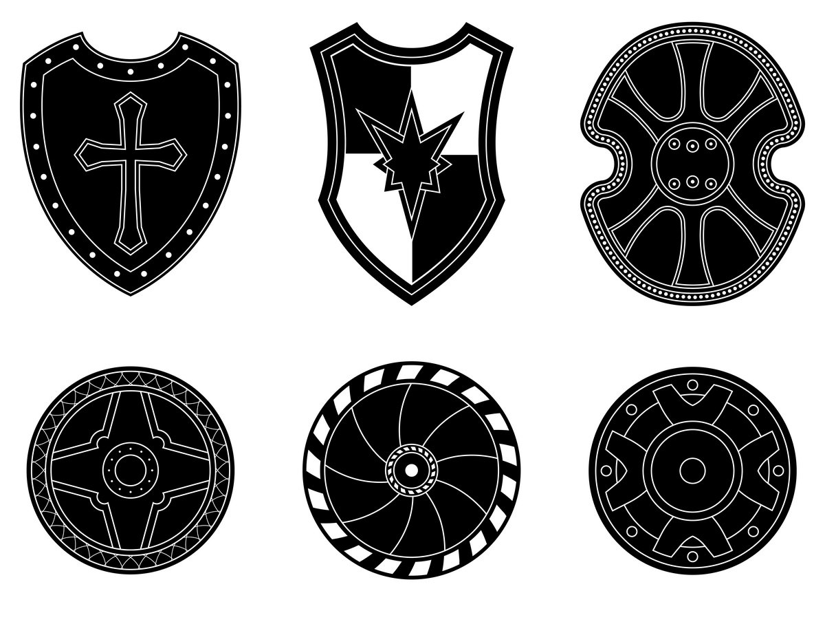 Icon Set Of Ancient Medieval Shield Icons Creative Market