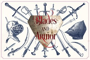 Vintage swords and armor