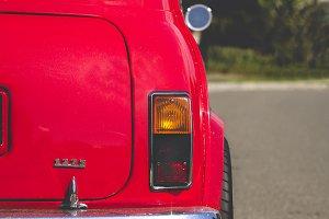 Vintage Red Mini Cooper Car