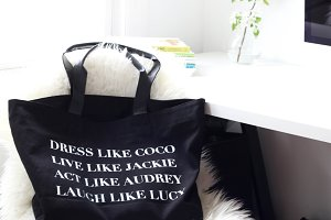 Computer, Bag, Book -Styled Photo