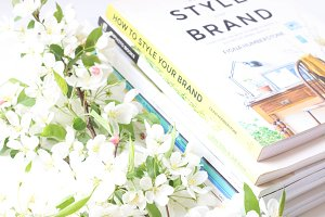 Books, Flowers, Desk -Styled Photo