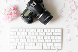 Camera, Pink flower -Styled Photo