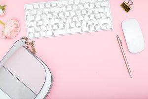 Female desktop with accessories.