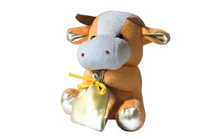 cow bag soft toy isolated on white
