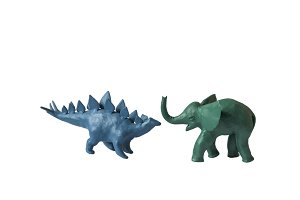 plasticine elephant dinosaur isolated white background
