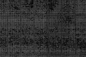 Horizontal black and white pixel maze illustration background