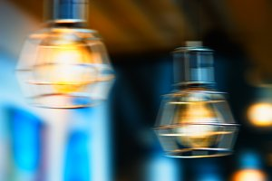 Horizontal warm cafe lamp bokeh background